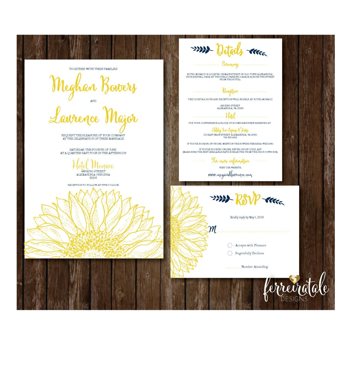 Sunflower Wedding Invitation, Rustic Wedding Invitation, Floral ...
