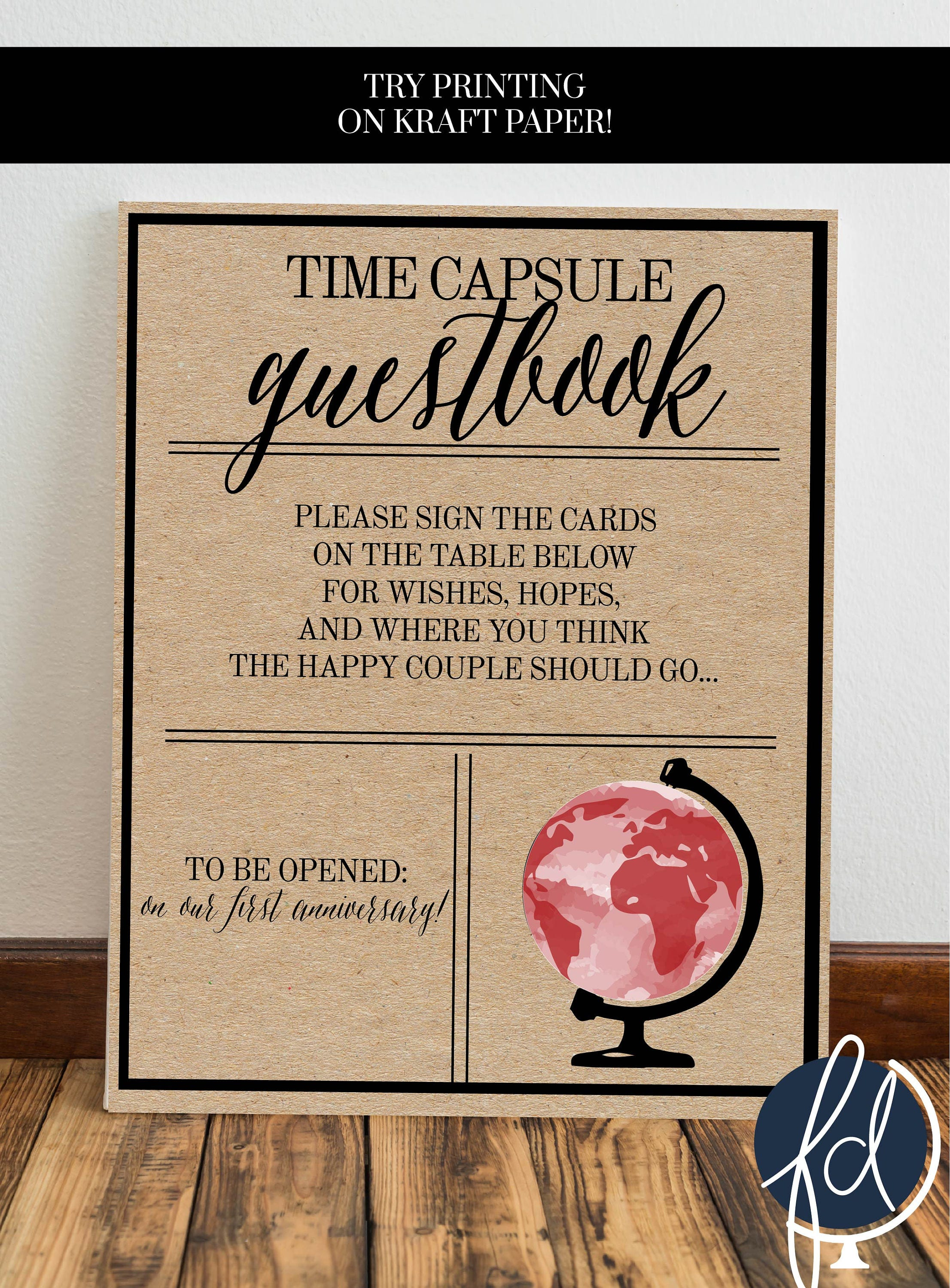 Time Capsule Sign Wedding Time Capsule Travel Guest Book
