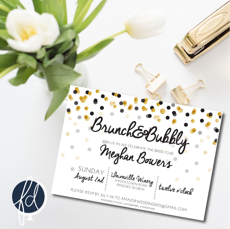 bridal shower brunch and bubbly invitation brunch invitation