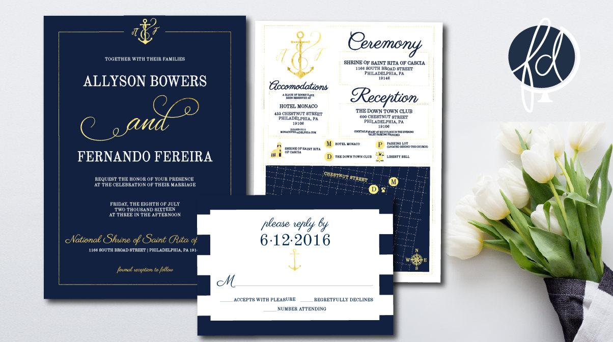 Navy and Gold Wedding Invitation Set  Invitation Nautical   Beach ...