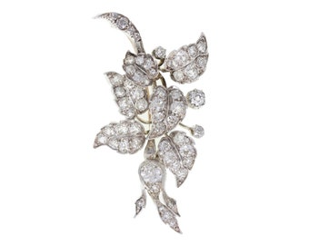Stunning Edwardian Diamond Brooch in Silver and Gold