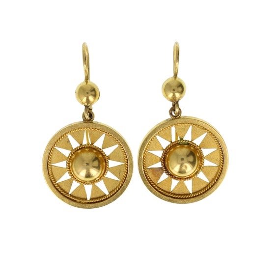 Victorian Etruscan Style 15ct Gold Drop Earrings