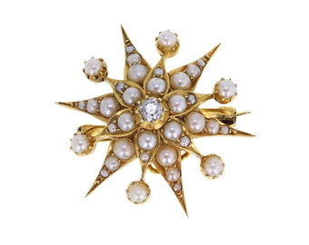 Antique Starburst Pearl and Diamond Brooch