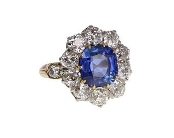 Antique No Heat Ceylon Sapphire Diamond Cluster Ring