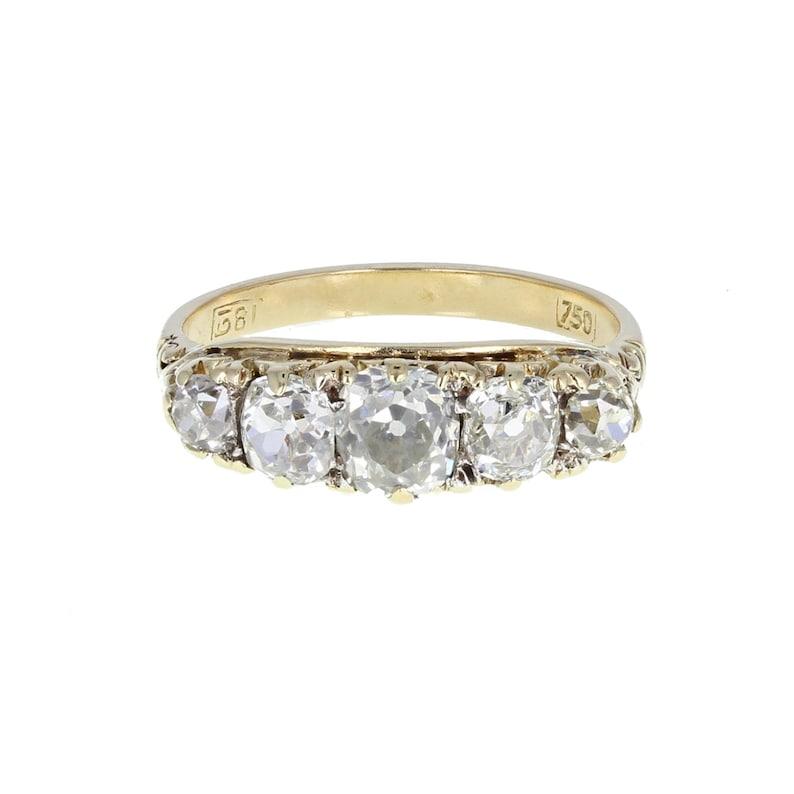 4ac2b71568e70 Antique Gallery Set Five Stone Diamond Ring