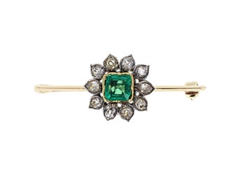 Antique Emerald and Diamond Brooch