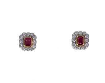 Vintage 18ct Gold Ruby Diamond Cluster Earrings