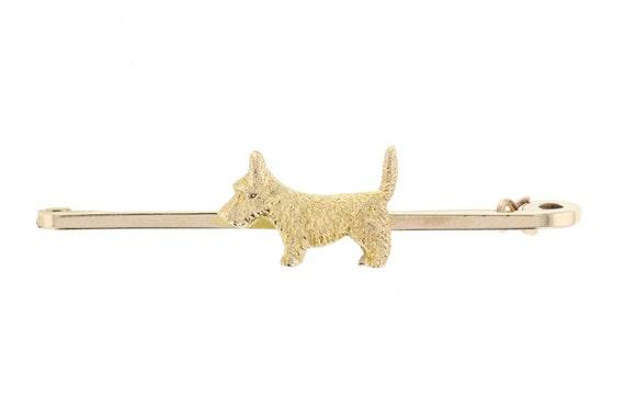 9ct Gold Scotty Dog Pin Brooch