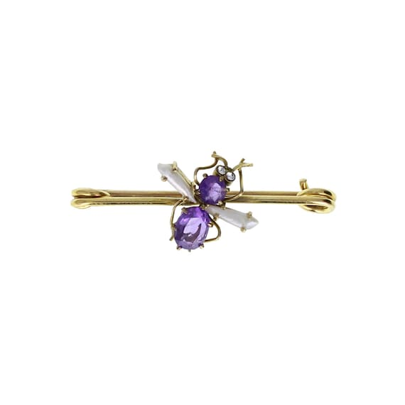 Antique Victorian Amethyst Pearl Insect Brooch