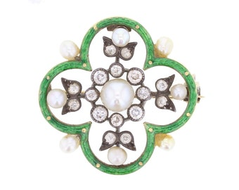 Early 1900's Enamel, Pearl and Diamond Brooch