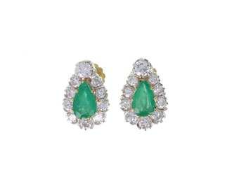 Emerald and Diamond Pear Shape Earrings