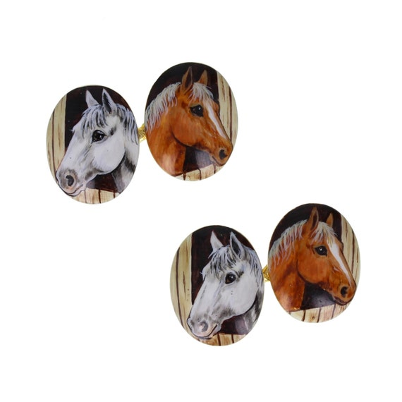 Antique 18ct Gold Enamel Horse Cufflinks