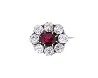 Antique Thai Ruby and Diamond Brooch