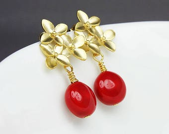 Red Drop Earrings, Red Pearl Drop Earrings, Drop Stud Earrings Red, Bridesmaid Earrings, Nature Earrings, Red Pearl Earrings, Floral Earring