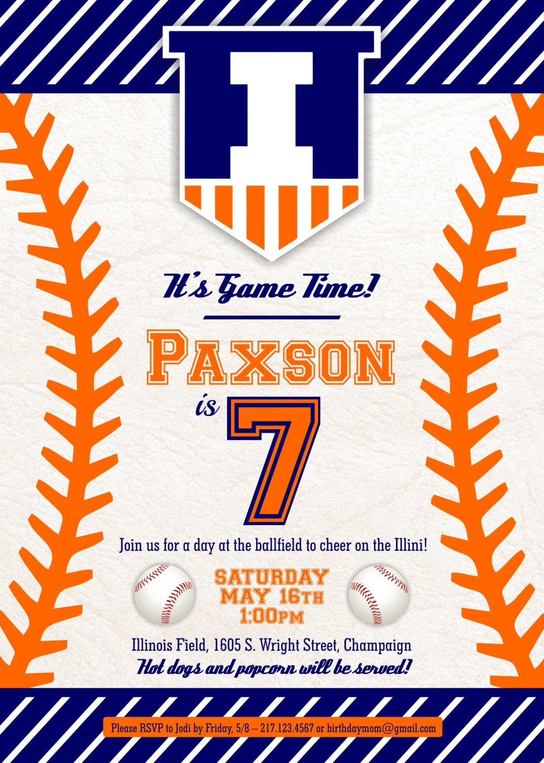 Illinois Baseball themed Birthday invitation | Etsy