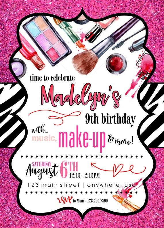 Invitación de fiesta de cumpleaños temática de maquillaje