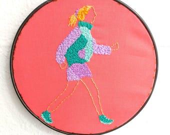 Power walking hand embroidered hoop art