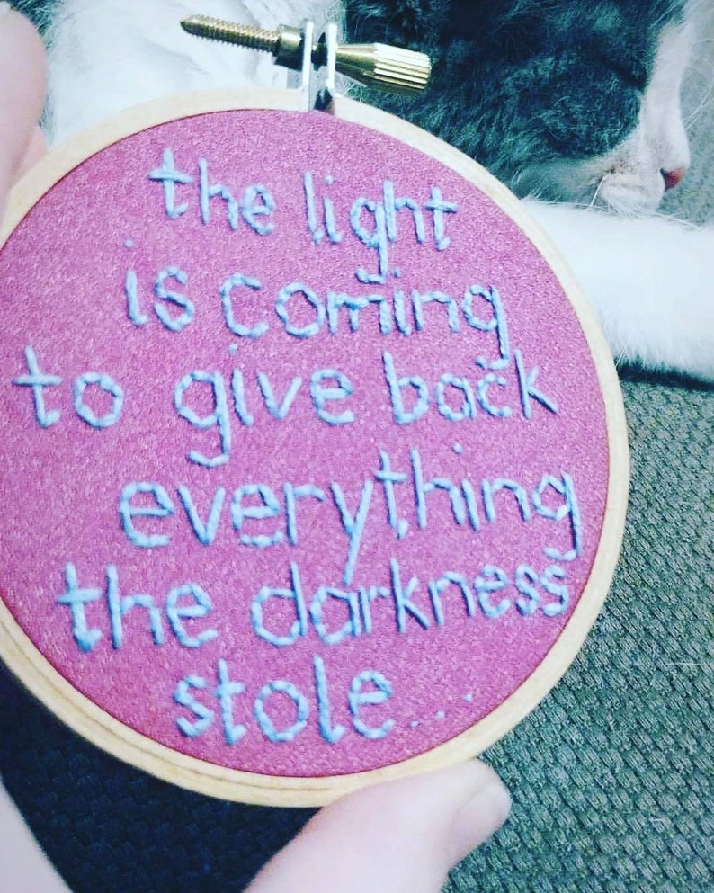 The light is coming  3 inch hoop hand embroidered