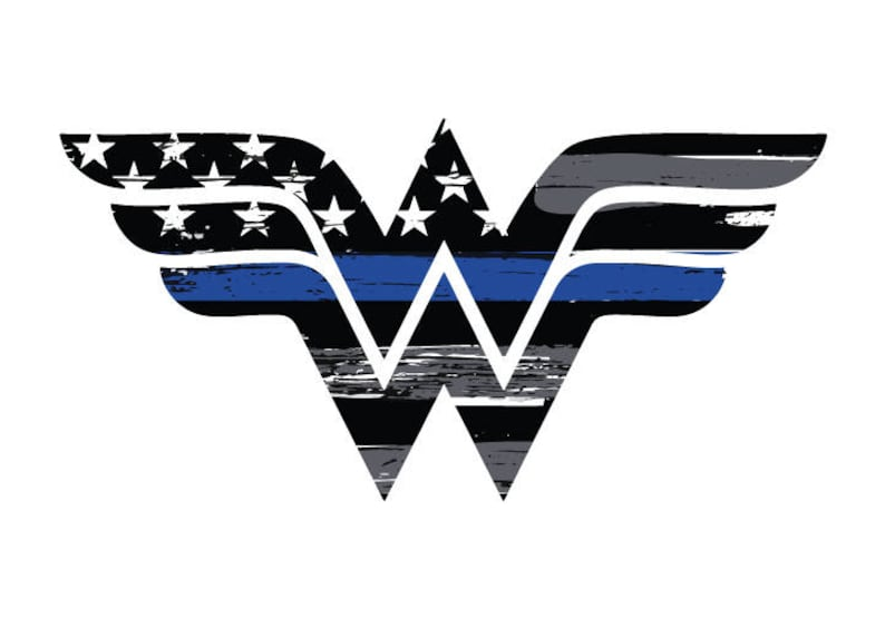 6bccdfd7189a2 Thin Blue Line Wonder Woman Vehicle Decal. Vinyl Decal. Law | Etsy