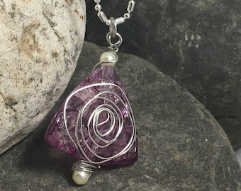 purple wire wrapped beaded necklace