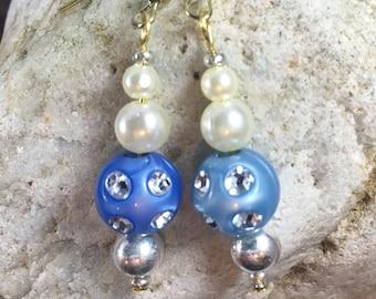 blue - diamond, pearl bead gold hook earrings