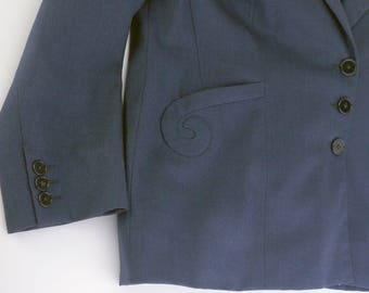 1930s Couture Navy Blue Wool Jacket B36 Petite