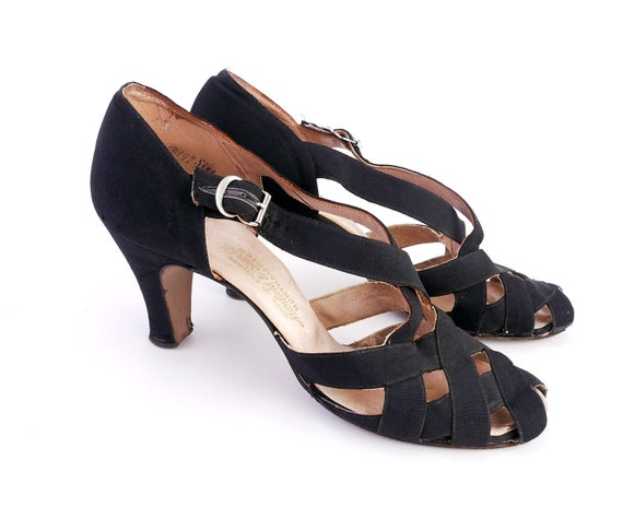 1930s Black Strappy Evening Sandals by Manfield UK