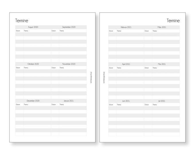 Overview Dates 2020 | 2021, teacher calendar, A5, schedule, deposits for teacher planners, calendar inserts for teachers