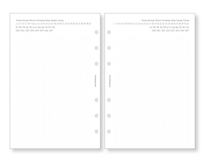 A5 Calendar Inserts Flexible Daily Planner Calendar 2021 2022 2023 2024 1W/2S Notes for Filofax Kikki K RingBooks Organizer