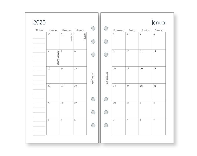 Calendar Inserts Monthly Overview Personal / Planner Inserts Monthly / for Organizer Filofax Websters Pages Calendar 2021 2022