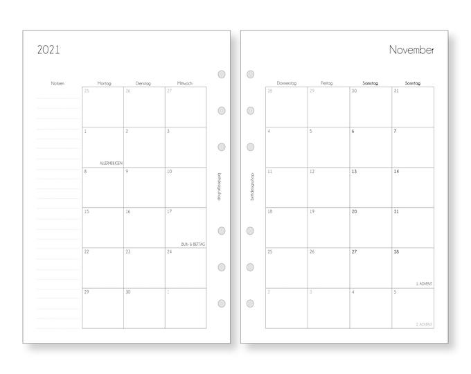 A5 Calendar Inserts Monthly Planner Monthly Planner Calendar 2021 2022 1 M/2S Notes for Filofax Kikki K Ring Books Organizer