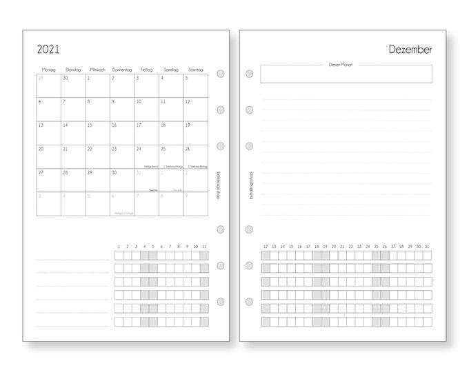 A5 Calendar Inserts Monthly Planner Monthly Planner Tracker Calendar 2021 2022 1W/2S Notes for Filofax Kikki K RingBooks Organizer