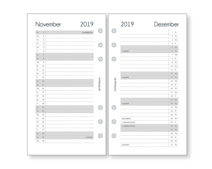 Calendar inserts Monthly overview Staff | 1 M/1S |  Planner Inserts Monthly / for Organizer Filofax Websters Pages Calendar 2021