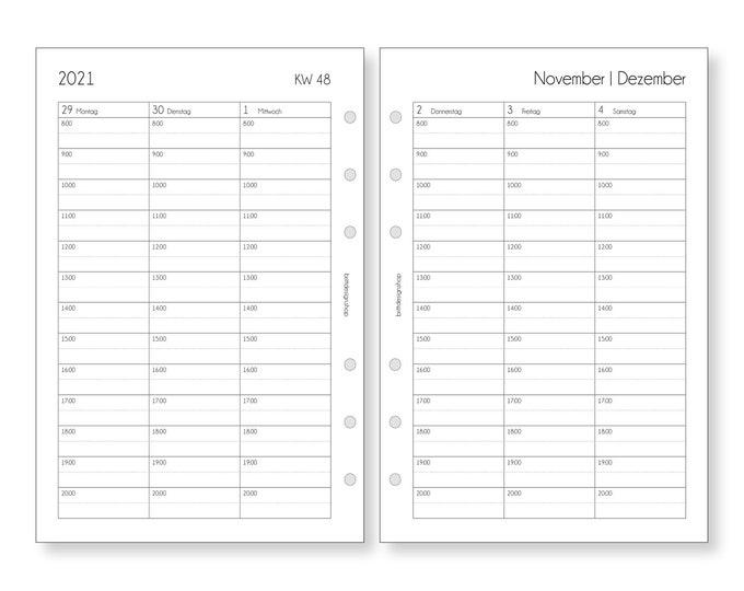 Calendar Inserts 1W/2S Appointments Notes A5 for Filofax Kikki K Ringbooks Organizer / Daily Planner Calendar 2021 2022