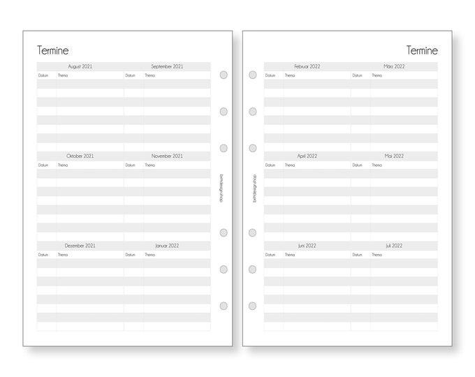 Overview Dates 2021 | 2022, teacher calendar, A5, schedule, deposits for teacher planners, calendar inserts for teachers
