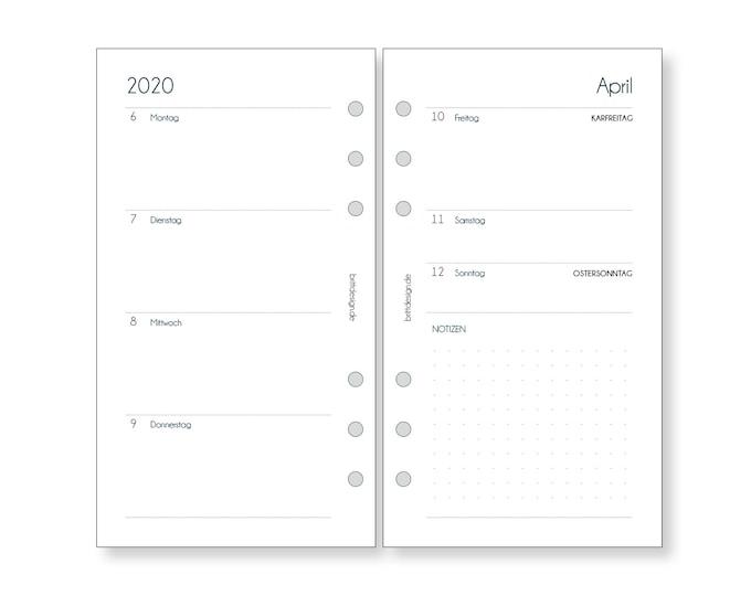 Calendar Inserts 1W/2S Staff | Planner Inserts Weekly | for Filofax | Kikki K | Organizer Calendar 2021 2022