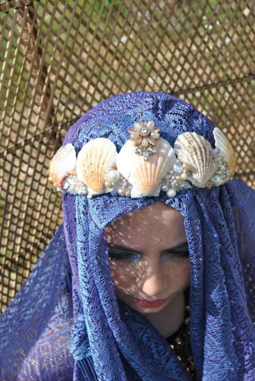 festival headdress Renaissance Cosplay bellydance headdress Witch water fairy Mermaid crown burningman,fetish mermaid Costume