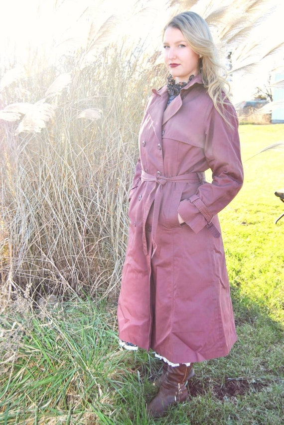 Vintage 80s dusty rose trench coat, pink trench co