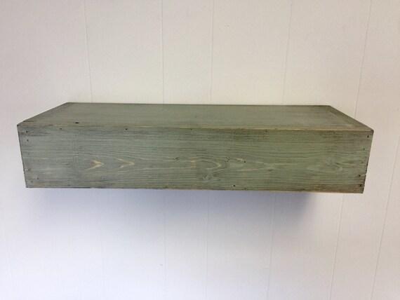 Wood floating shelf green distressed handmade