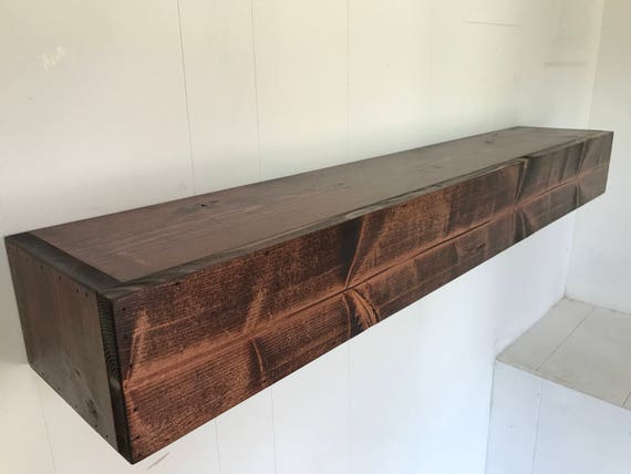 Wood Floating Shelf Rustic Reclaimed Style in Red Mahongany // rustic shelf // rustic shelves // rustic wood