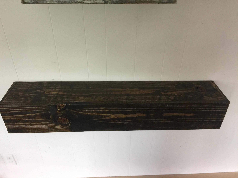Wood Floating Mantle Shelf Rustic Reclaimed Style In Dark Walnut Rustic Shelf Rustic Shelves Rustic Mantle Rustic Wood