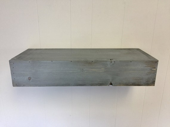Wood floating shelf blue distressed handmade