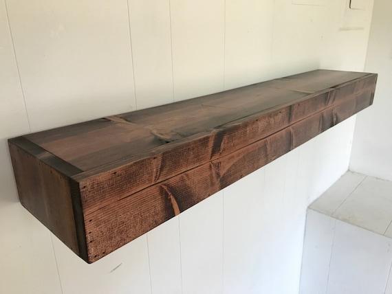 Wood Floating Shelf Rustic Reclaimed Style in Red Mahogany // rustic shelf // rustic shelves // rustic wood