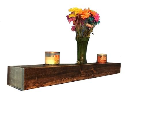Wood floating shelf rustic style handmade in Dark Walnut // rustic shelf // rustic shelves // rustic wood