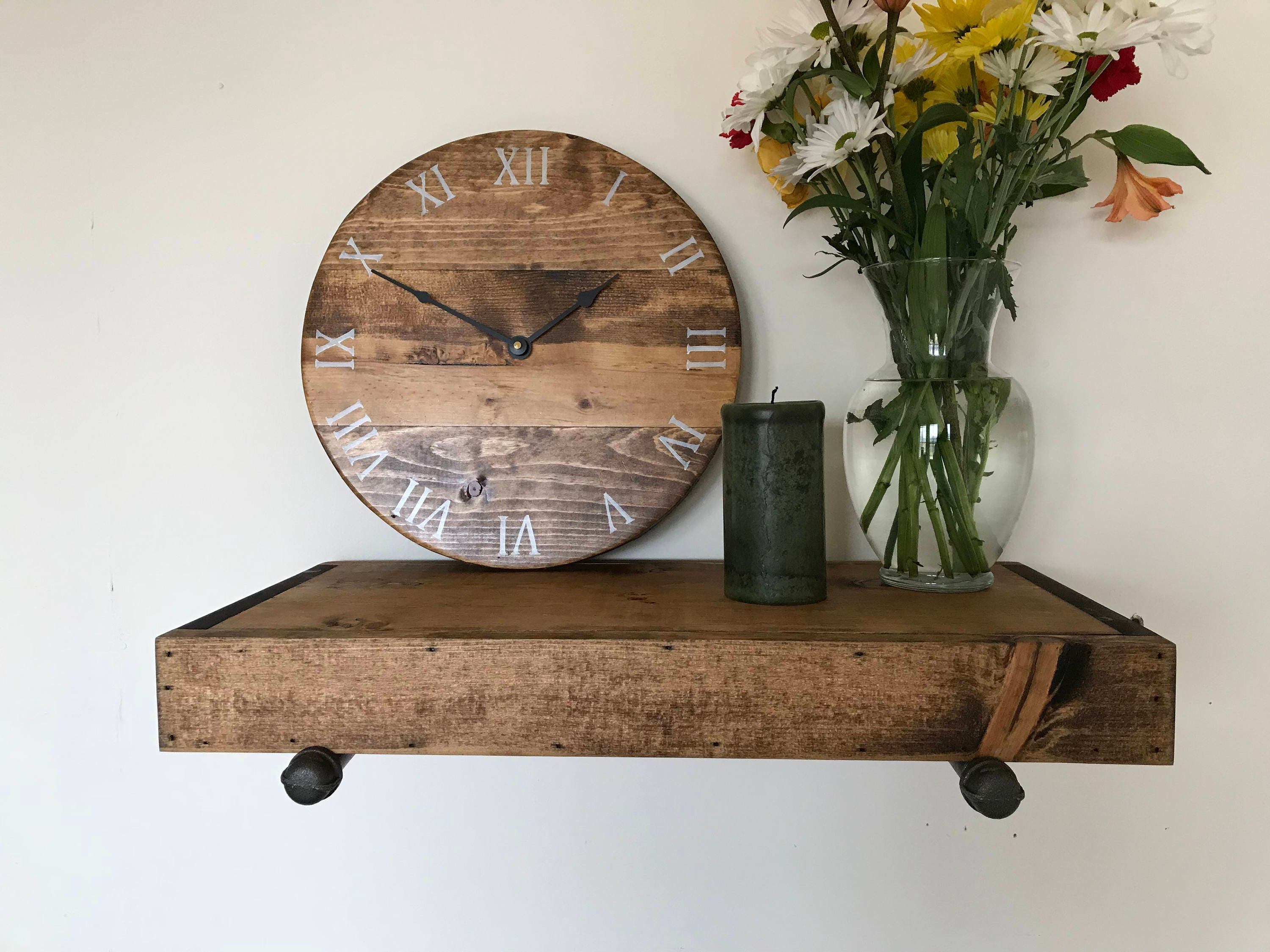 Rustic industrial style shelf handmade rustic shelf rustic shelves rustic wood