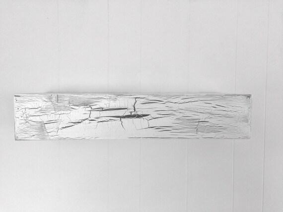 Wood floating shelf white distressed crackle handmade // rustic shelf // rustic shelves // rustic wood // white crackle