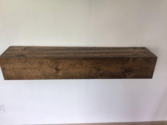Wood Floating Mantle / Shelf Rustic Reclaimed Style in Provincial // rustic shelf // rustic shelves // rustic mantle // rustic wood