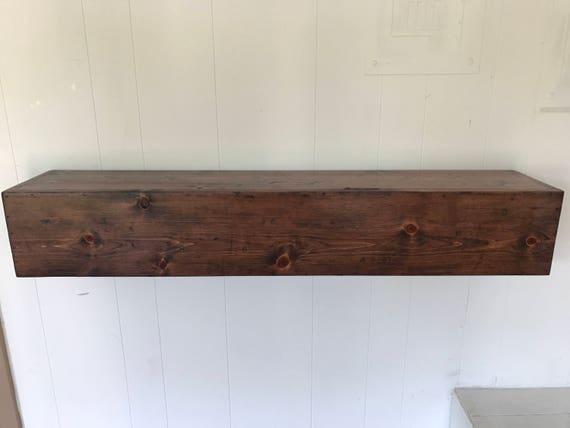 Wood Floating Mantle / Shelf Rustic Reclaimed Style in Red Mahogany // rustic shelf // rustic shelves // rustic wood // rustic mantle