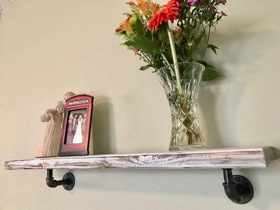 Kathy Industrial Pipe Wood Floating Shelf // Rustic // Reclaimed // industrial // piping // wood shelf // floating shelf