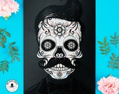Blank Card Black White Sugar Skull Retro Mustache Hipster Day of the Dead Colorful Dia de los Muertos Greeting Card